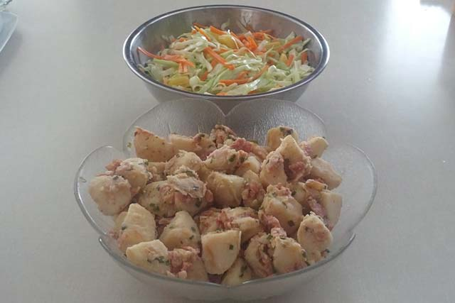 Coleslaw-with-Pineapple-and-German-Potato-Salad