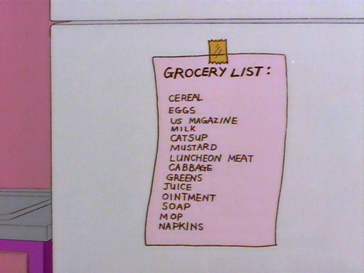 Smithers-Grocery-List